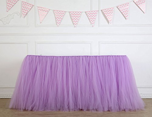 Table Skirt 1 Yard Mint Tutu Tulle Table Skirting Cover Purple Tableware for Rectangle or Round Tables for Party/Wedding/Birthday/Baby Shower Decoration -
