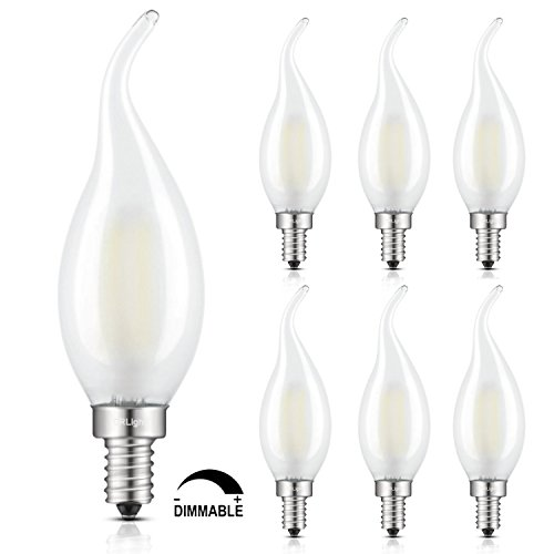CRLight LED Candelabra Bulb 2W 4000K Daylight (Neutral White), 25W Equivalent 250LM E12 Base Dimmable LED Candle Bulbs, C35 Frosted Glass Flame Shape Bent Tip, 360 Degrees Beam Angle, 6 Pack (Dimmable Candle Bulb)