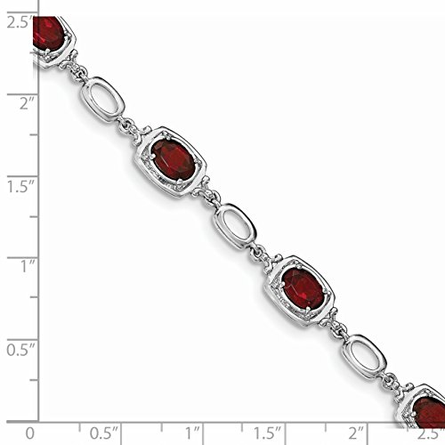 ICE CARATS 925 Sterling Silver Red Garnet Link Bracelet 7.50 Inch Gemstone by ICE CARATS (Image #3)