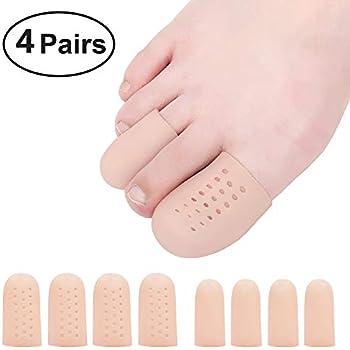 Beautulip Toe Cover Gel Protectors Breathable Toe Sleeves for Missing or Ingrown Toenails, Greek Toe and Hammer Toe PACK of 8 (Beige)