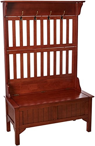 Cottage Oak Finish Seat - Home Style 5649-49 Full Hall Tree and Storage Bench, Cottage Oak Finish