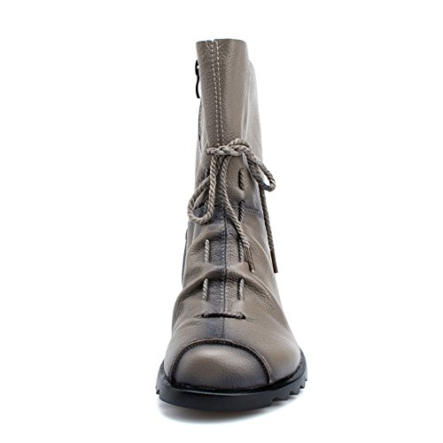 Btrada Lining Short Womens Retro Grey Fur Boots Martin Booties Casual Lace Warm up Antiskid Winter Ankle Soft qUFrw0xnUT