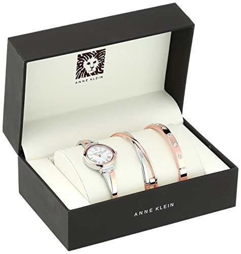 Anne Klein Women's AK/2245RTST Swarovski Crystal Accented Rose Gold-Tone and Silver-Tone Bangle Watch and Bracelet Set by Anne Klein (Image #1)