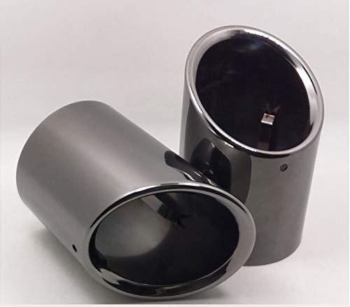 Bmw 2020 Muffler - 2pcs New Car Chrome Stainless Steel Exhaust Tail Pipe Tip Tailpipe Muffler Cover Trim Emblems Black Color Custom Fit for BMW 5-Series F10 F18 2011 2012 2013 2014 2015 2016 2017 2018 2019 2020