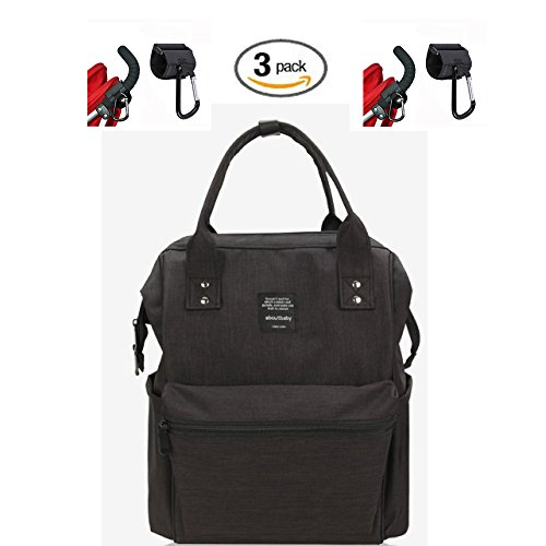 Waterproof Backpack with 2 Stroller Hooks - Durable, Stylish, Large Capacity - Diaper Bag, Maternity Travel Backpack, Multi-Function for Baby Care, Nappy Bag - Insulated Bottle Bag, 3 (Black) by Qualitrusty