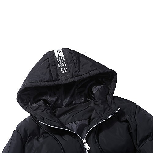 warm Winter casual N Black padded hooded jacket loose men's ito long down jacket coat 5nq6xfPwqU