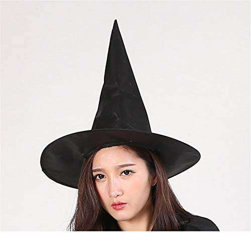 JYJSYM Halloween, Witch hat/Wizard hat/Pure Black/Pointed