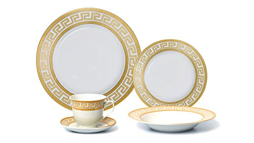 Euro Porcelain (Euro Porcelain 20-pc Dinnerware Set w/ Gold Greek Key Pattern 24K Ornament, HQ Dining Service for 4)
