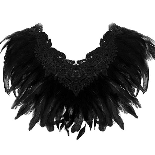 Women Black Feather Body Harness Bra Tops Adjustable Plus Size Halloween -