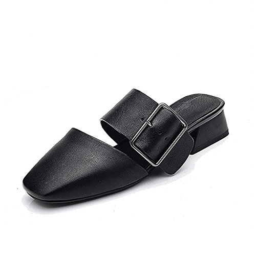 Heart&M Cuadrado retro vacuno dedo del pie talón del cuadrado de tacón grueso de las mujeres hebilla de cinturón sólido de color sandalias de los deslizadores Black