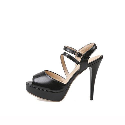 Solid Stilettos Toe Black Sandals Buckle AllhqFashion Peep Women's Heeled Spikes vwRqT41F