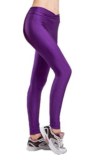 原子炉修正必要とする(ビグッド) Bigood 無地 ストレッチパンツ ボトムス レディース スポーツタイツ スキニーレギパン レギンスパンツ ヨガ ランニング フィットネス(紫?XL)