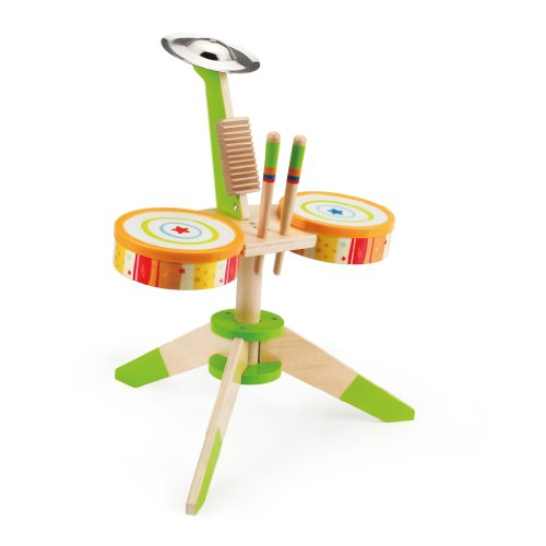 (Award Winning Hape Rock and Rhythm Kid's Musical Instruments Wooden Drum Set )