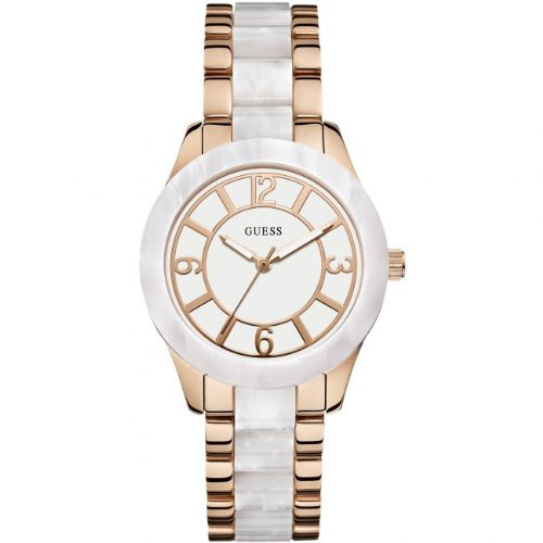 Amazon.com: GUESS Womens W0074L2 Stainless Steel Rose Gold-Tone & White Marbleized Watch: Clothing