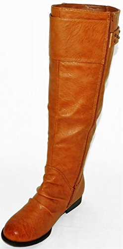 Women Multi Color Over the Knee High Wedge Fashion Stylish Pull on Boot Cognac Pu aXOOpXa48F