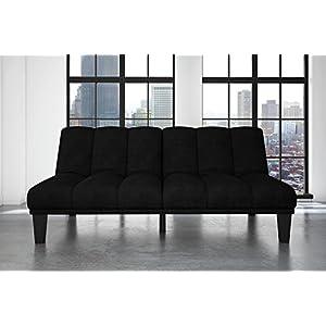 Hamilton Estate Premium Sofa Futon Sleeper Comfortable Plush Upholstery, Rich Black