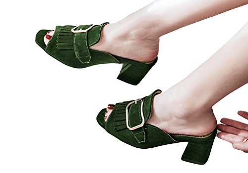 Clogs Sandals 4 Sweet Green Block Mules Buckle Tassels Women's Square Heels HiEase 11 Size Toe with Slippers Elegant 1vZzq