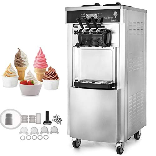 VEVOR 2200W Commercial Soft Ice Cream Machine 3 Flavors 5.3-7.4Gallons/H Auto Clean LED Panel Perfect for Restaurants Snack Bar supermarkets, 2200W ()