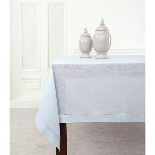 Solino Home Hemstitch Linen Tablecloth - 60 x 120 Inch, 100% Pure Linen Light Blue Tablecloth for Indoor and Outdoor use (Light Blue Linen Tablecloth)