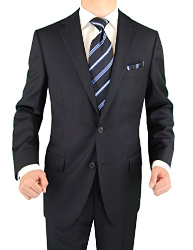 Button Super Fine Wool Suit - DTI DARYA TRADING 2 Button Mens Suit Nano Luxury Technology Vantage Wool Technical Stretch Navy (44 Regular US/54R EU/W 38