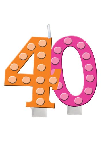 - Creative Converting Bright and Bold 40th Birthday Molded Numeral Cake Candle - 100412