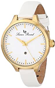 """Lucien Piccard Women's LP-12917-YG-02-WHT """"Lleida"""" Stainless Steel Watch with White Satin Band"""