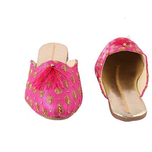 Sunlife Mart Rajwari Women's Designer Pink funda Jutti Handmade Indian Fabric Traditional Shoes Purely Handcrafted - Indian Slippers