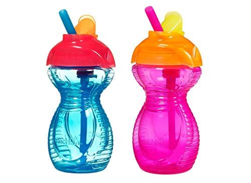 Munchkin Click Lock Flip Straw Cups BPA Free 2- Pack (Blue/Pink)