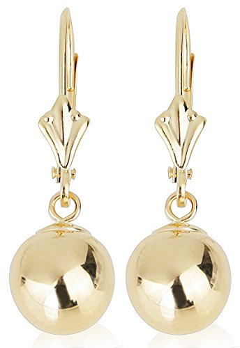 14k Yellow Gold Drop Earrings with Round Gold Ball (Leverback Ball Earrings, Balls Available in 5-8 mm Sizes, Gift Box Included with Earrings) (7 mm)