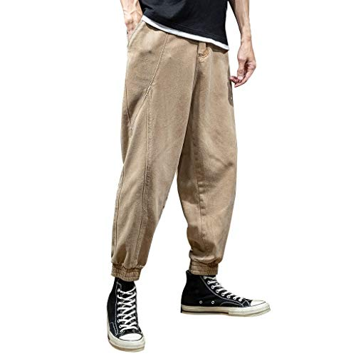 Comfortable Trousers Men's Summer Fashion Overalls Casual Pure Colour Khaki