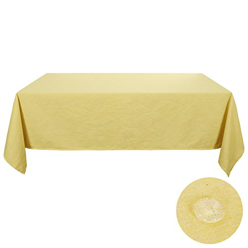 Deconovo Yellow Table Clothes 60 x 102 Tablecloths for Rectangle Table Recycle Cotton Soft Mellow Yellow