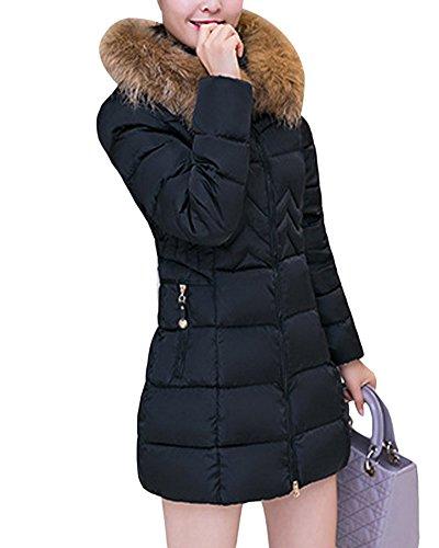 Jacket SaiDeng Manche Blouson Fille Rembourr Faux Fourrure Veste Veste Hoodie Femme Noir Capuche 4qwc4C0r