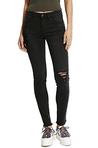 TheMogan Women's Distressed Tencel Denim Raw Hem Ankle Skinny Jeans Black ()