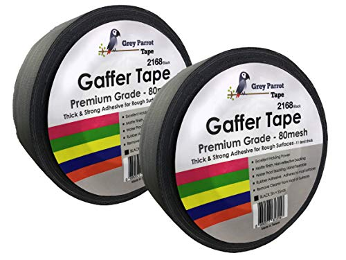 GreyParrot Gaffer Tape Black, Heavy Duty, Premium Grade Gaffers Tape, 11.8mil Thick, Leaving no Residual, (2 Pack, 2in x 35yds) by GreyParrot Tape