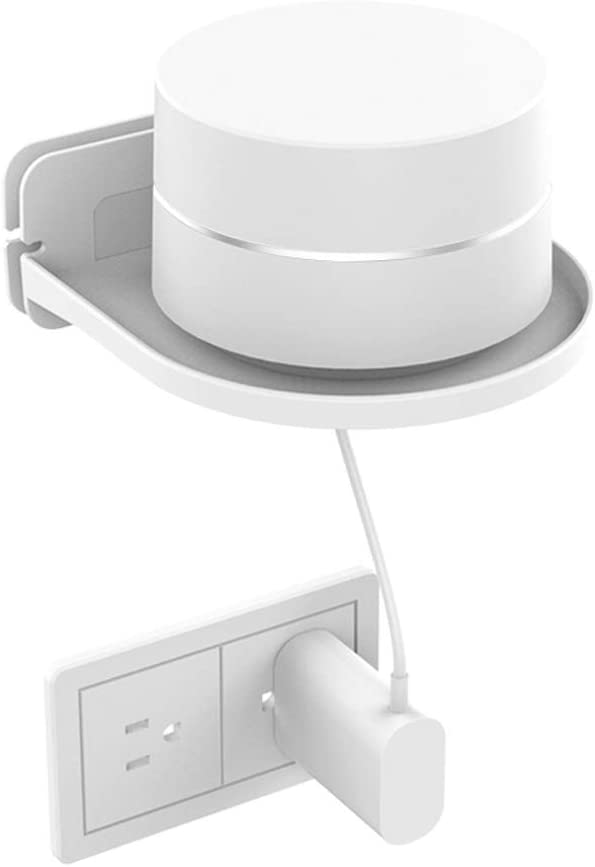 Universal Wall Mount Holder, ABS Wall Shelf for Google Home mini, Google Wifi, Security Camera, Sonos, Speakers, Smart Home, Wall Mount Stand Built-in Cable Organizer with 3M Adhesive or Screws, White