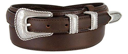 (Silver Buckle Set Oil-Tanned Genuine Leather Western Ranger Belt for Men(Brown,)