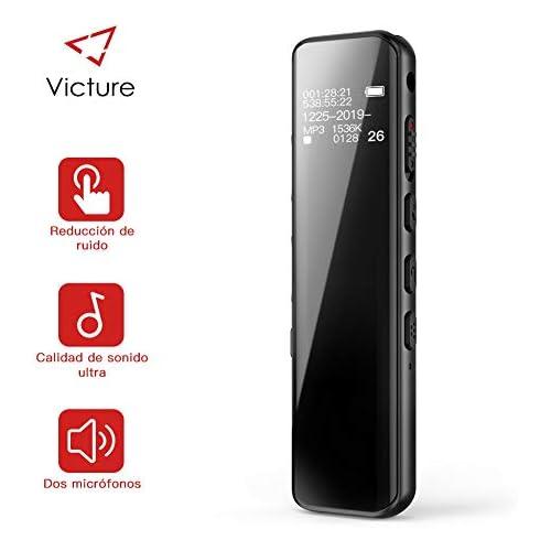 chollos oferta descuentos barato Victure Grabadora de Voz Digital Portátil 8GB 1536kbps Ultra HD Diseño de Espejo Completo Grabador de Sonido con Reproductor de MP3 Micrófono Incorporado Baterías Recargables