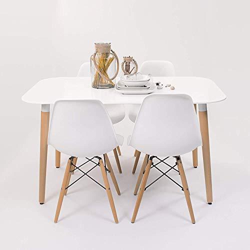 Conjunto de Comedor de diseno nordico NORDIK-MAX con Mesa lacada Blanca de 130x80 cm y 4 sillas (Blanco)