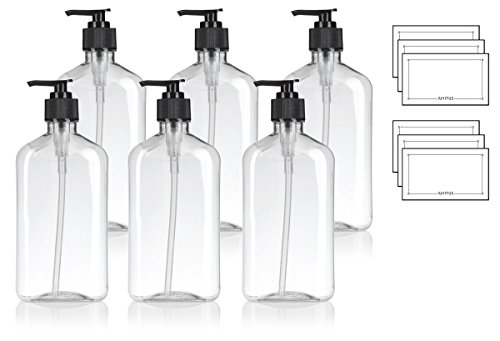 16 oz / 500 ml Clear PET (BPA Free) Plastic Oblong Flask Style Refillable Bottle with Black Lotion Pump (6 pack) + Labels