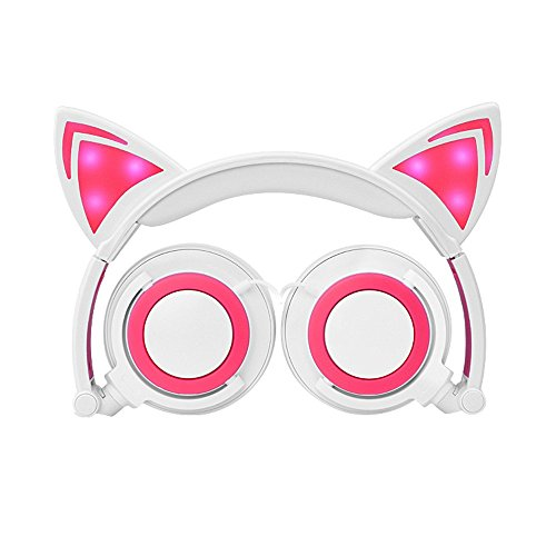 Cat Ear Kids Headphones,DICEKOO Flashing Glowing Cosplay Fancy Cat Ear Headphones Foldable Over-Ear Gaming Headsets Earphone with LED Flash Light for Girls Boys Phone Tablet (Pink-White)