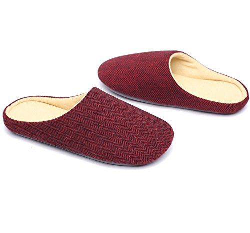 Ofoot Mens & Womens Cotton Fabric Fodera In Spugna Memory Foam Slip On House Pantofole Claret