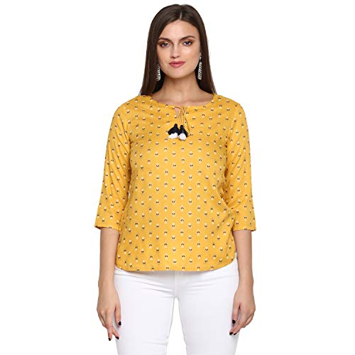 DVC Casual 3/4 Sleeve Solid Women Yellow Cotton Top