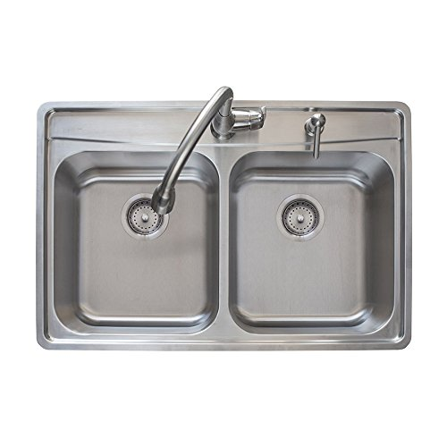 Franke Evolution 33.5'' Top Mount Stainless Steel Double Bowl Fast-in Kitchen Sink Kit with Faucet, Soap Dispenser, and Two Strainer Baskets by Franke