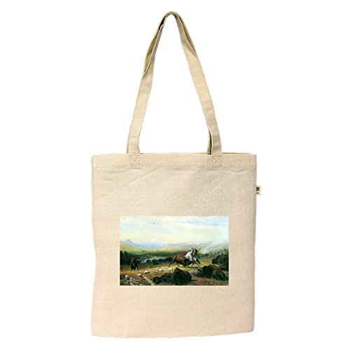 Sierra Lake Tahoe California (Bierstadt) Hemp/Cotton Flat Market Bag - Shopping In Lake Tahoe