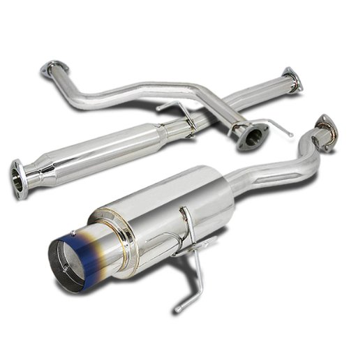 (For Honda Civic Catback Exhaust System 4 inches Burn Tip Muffler - 3 Door Hatchback EK)