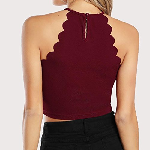Dbardeur Camisole Chemise Femme Solide Tee Ete Shirt sans Sexyville Chic Rouge Tops Manche pSaWdqqtw