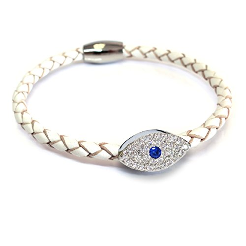 Liza Schwartz Jewelry Sapphire Evil Eye Leather Bracelet (White)