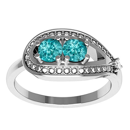 - Paraiba Tourmaline & Simulated Diamond Wedding Ring By Orchid Jewelry : Anniversary And Engagement Rings For Women, April Birthstone Promise Ring For Her, Gemstone Fashion Rings Size 9 | (0.55 Ctw)