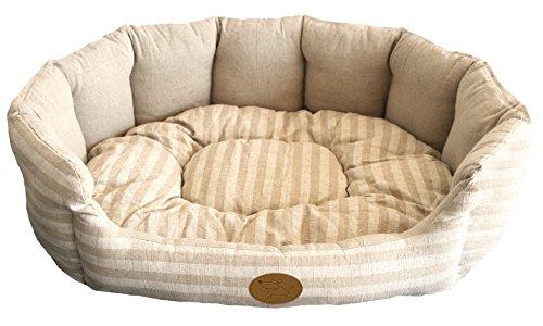 Best Pet Supplies Lotus Pet Bed - Tan Stripes, Large (28 x 24 x 9 - Colored Cat Bed Tan