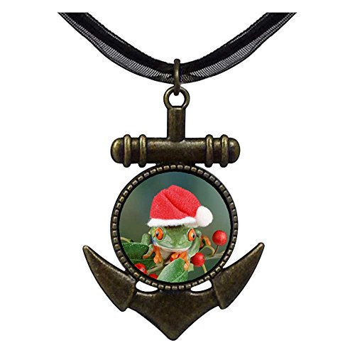 GiftJewelryShop Bronze Retro Style Holly Hopping Santa Frog Anchor Charm Pendant Necklaces #8